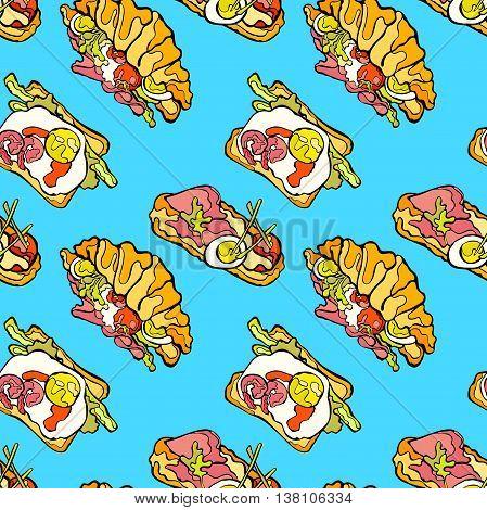 Sandwich. Croissant Scrambled eggs Vector seamless pattern.