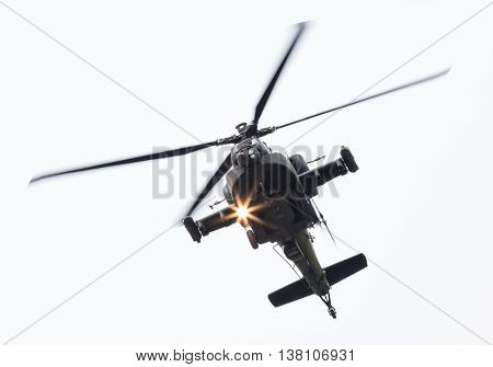 Leeuwarden, The Netherlands - Jun 11, 2016: Boeing Ah-64 Apache Attack Helicopter Flying A Demo Duri