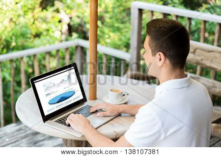 business, statistics, economics, people and technology concept - close up of businessman at laptop computer with charts on screen outdoors on summer terrace and drinking coffee