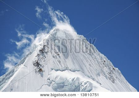 Summit Alpamayo in Cordilleras mountain