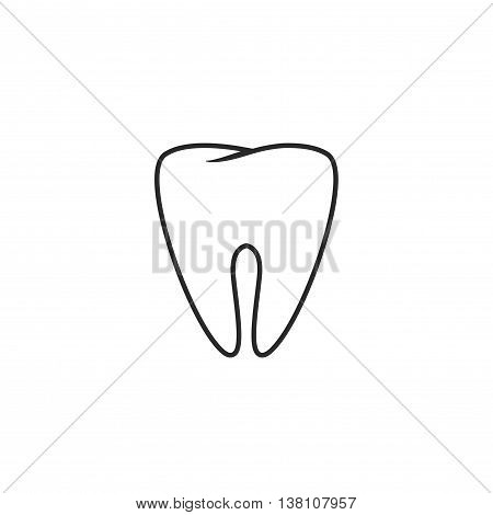 Tooth vector icon line art outline style, sketch of tooth, element of dental logo isolated on white background