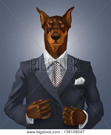 vector man with doberman head dressed up in office suit
