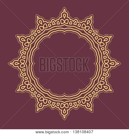 Vector abstract monogram and logo design template. Decorative line art frames. Elegant element for design in Eastern style with space for text.Lace illustration for invitations cards