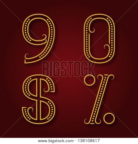 Nine zero golden numbers dollar and percent sign with shadow. Font of dots and lines with flourishes in art deco style.