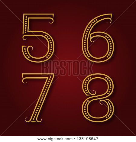 Five six seven eight golden numbers with shadow. Font of dots and lines with flourishes in art deco style.