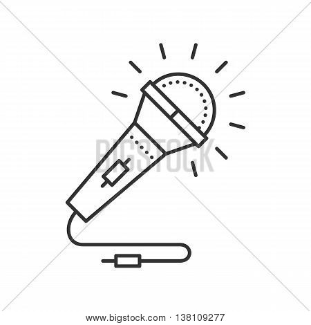 Microphone thin line icon. Mike for Karaoke, vocal. Vector illustration