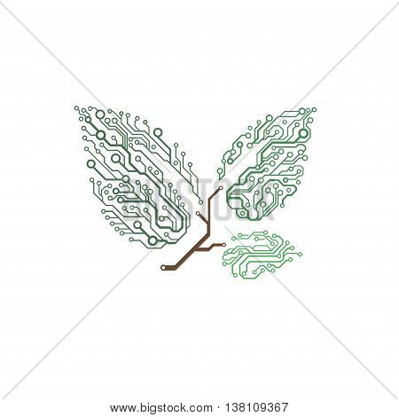 Vector circuit board twig with leaves, concept of growth and innovation in technology business