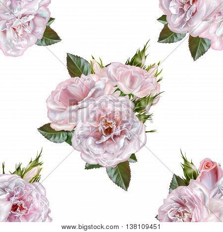 Pattern seamless. Old style. Bouquet of flowers and pastel pink roses. Isolated on white background