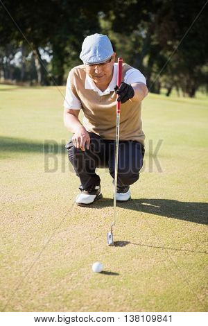 Sportsman analysing the field on a golf course