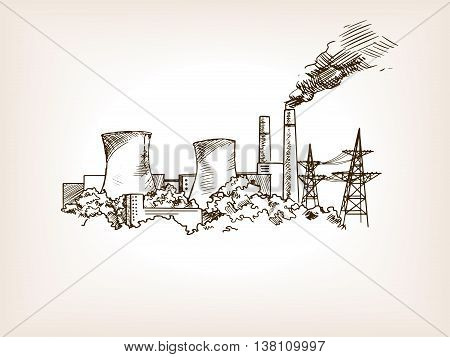 Nuclear power plant sketch style vector illustration. Old hand drawn engraving imitation.