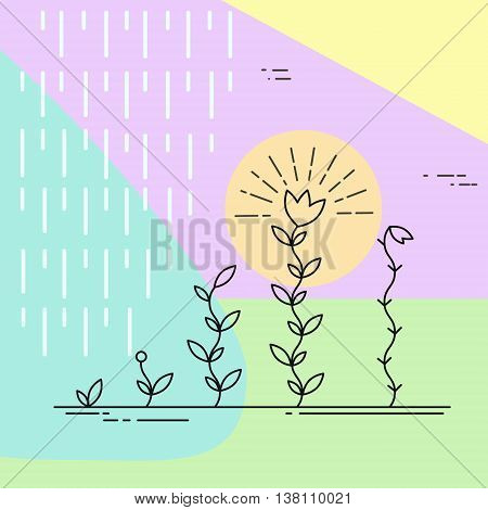 Vector nature and ecology illustration in linear style. Growing plants. Geometric design in pastel colors.