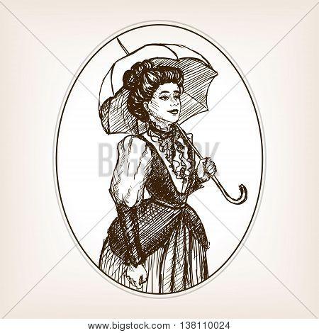 Vintage lady sketch style vector illustration. Old engraving imitation.