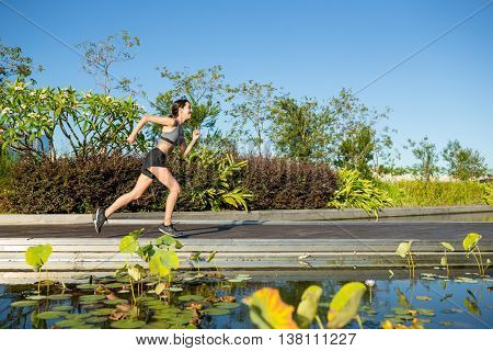 Woman running in park
