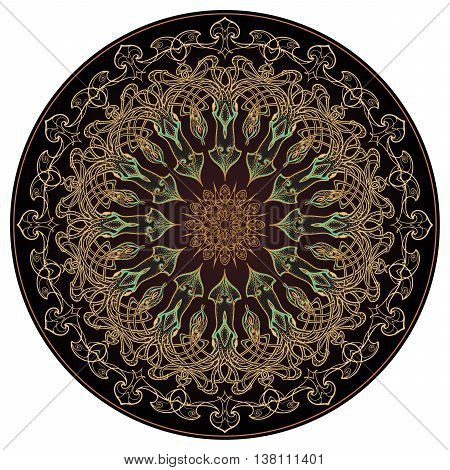 Sea squid decorative circular ornament or mandala. Exquisite and elaborate art nouveau style design. Trendy gold and dark brown palette. EPS10 vector illustratopn.