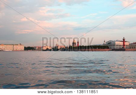 View of Saint Petersburg in Russia across Neva river at sunset