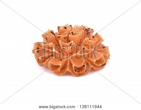 Crispy lotus blossom cookieThai cookies isolate on white background