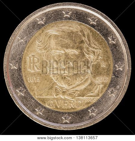 Commemorative Two Euro Coin Issued By Italy In 2013 And Commemorating He Italian Composer Giuseppe V