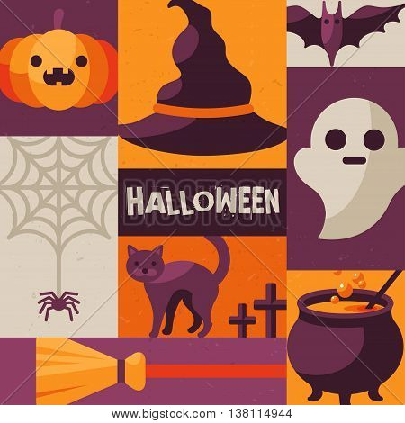 Halloween creative poster. Vector illustration. Flat design creepy icons in squares. Cute holiday characters in retro style with texture