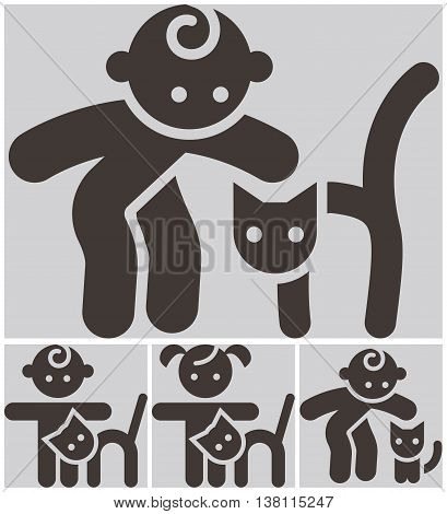 Kids activities icons set - a child and a cat in the petting zoo