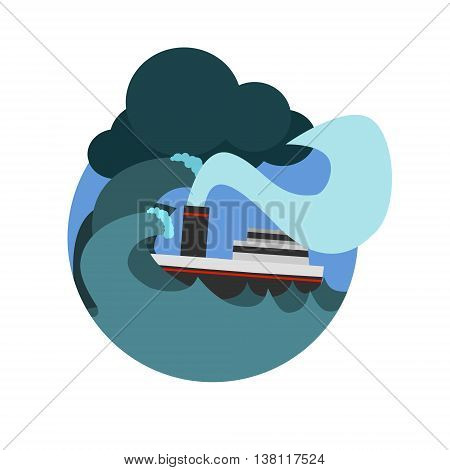Havy Gale Sinking The Ship Natural Force Flat Vector Simplified Style Graphic Design Icon Isolated On White Background