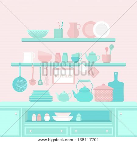 Vector set of kitchen utensils for cooking. Kitchen tools. The interior of the kitchen. Set of vector elements for the kitchen. Illustration in flat style.