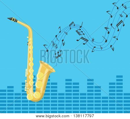 saxophone music jazz with tone and melody sign flying as background vector graphic illustration