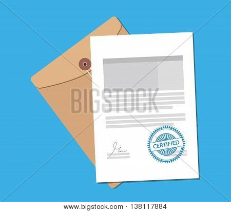 certified stamp on paper document with flat style vector graphic illustration