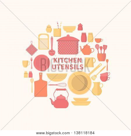 Vector collection of kitchen utensils for cooking. Set of kitchen icons. Kitchen tools. Set of vector elements for the kitchen. Illustration in flat style.