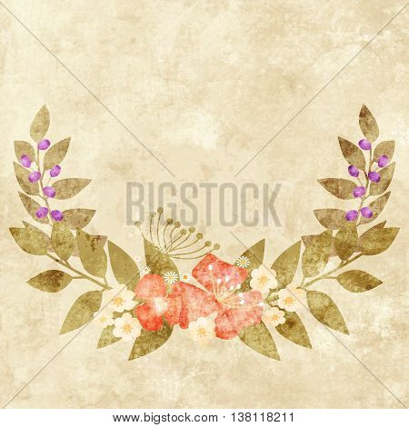 Elegant colorful grunge flower invitation postcard floral design
