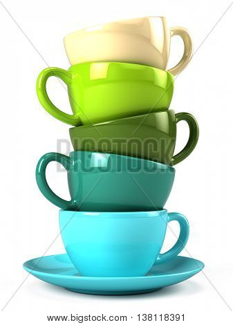 Stack of colorful coffee cups isolated on white. 3d illustration