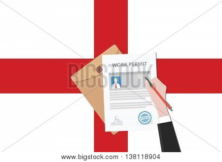work permit problem in british after brexit with people sign a paper document vector graphic illustration