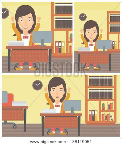 Successful young business woman celebrating with arms up while sitting at the table in office. Successful business concept. Vector flat design illustration. Square, horizontal, vertical layouts.