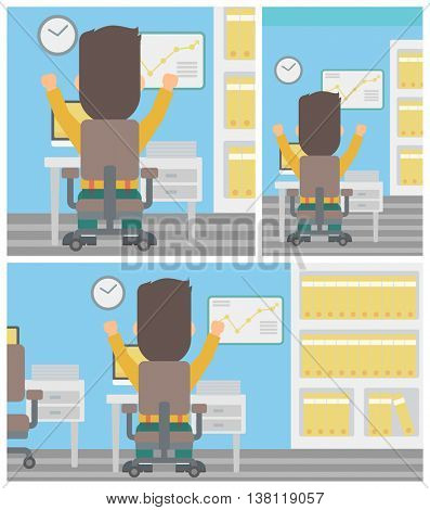 Rear view of successful businessman with raised hands sitting at workplace and a board with growing chart hanging on the wall. Vector flat design illustration. Square, horizontal, vertical layouts.