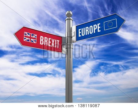Brexit concept - Euro and Brexit road signs with flags. 3d illustration
