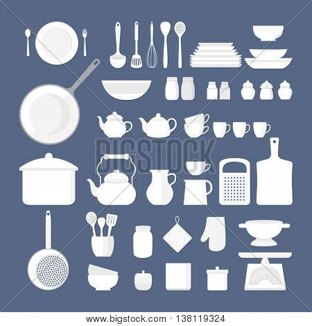 Vector set of kitchen utensils for cooking. Set of kitchen icons. Kitchen tools. Set of vector elements for the kitchen. Illustration in flat style.