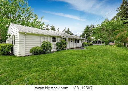 Back Yard Of American Rambler With Green Grass And Lots Of Space