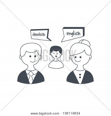 Synchronized Translation On Business Meeting Black And White Hand Drawn Illustration In Simplified Graphic Style On White Background
