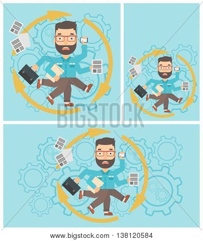 Hipster businessman with many legs and hands holding papers, briefcase, smartphone. Multitasking and productivity concept. Vector flat design illustration. Square, horizontal, vertical layouts.