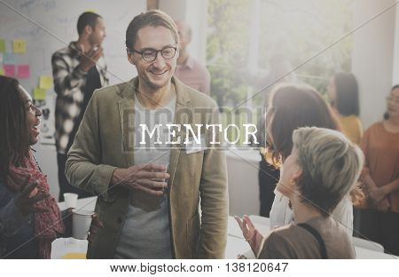 Mentor Coach Guide Helping Inspire Leader Concept