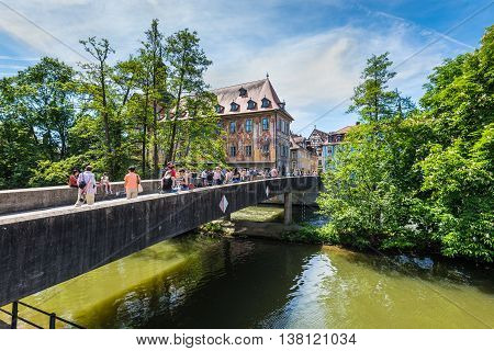Bamberg Germany - May 22 2016: View to Lower Bridge over Regnitz River and the old city in Bamberg Upper Franconia Bavaria Germany.