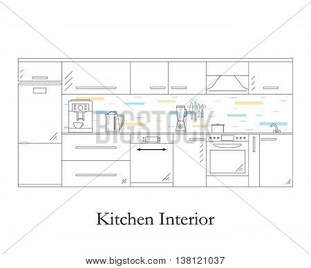 Interior of the kitchen. Linear style. White background. Kitchen design furniture and accessories. Coffee machine electric kettle and blender. The pot on the stove. Dishwasher. Vector illustration.