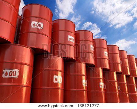 3d illustration a Rows of Classic Metal Oil Barrels Drum