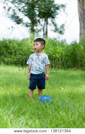 Young boy play with soccer