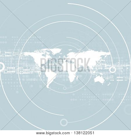 Hi-tech abstract geometric background with world map. Light blue technology vector design