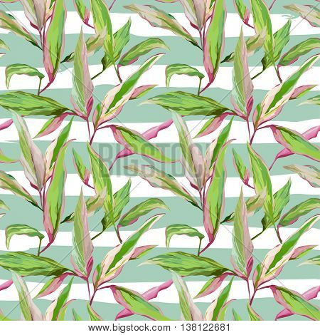 Tropical Leaves Background. Seamless Pattern. Vector Design