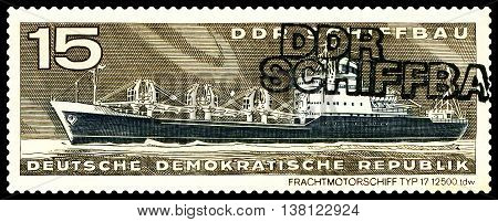 STAVROPOL RUSSIA - JULY 06 2016: a stamp printed by Germany shows Freighter type 17 circa 1971