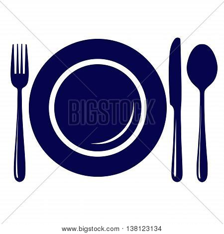 Empty plate with knife fork and spoon icon symbol sign isolated on white background