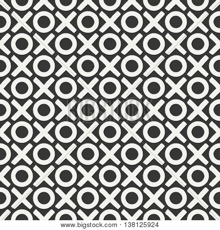 Hand drawn geometric seamless ink pattern with brush strokes. Wrapping paper. Abstract vector background. Brush strokes. Texture with crosses, tac-toe. Dry brush. Rough edges ink illustration.