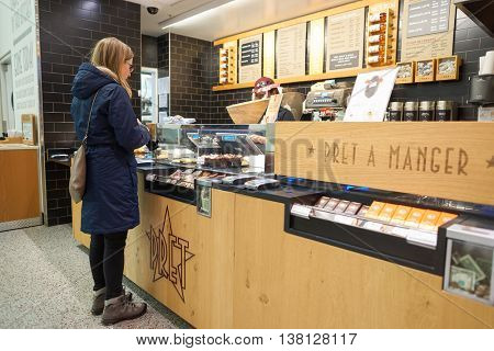 CHICAGO, IL - CIRCA MARCH, 2016: interior of Pret a Manger. Pret a Manger is a sandwich shop chain based in the United Kingdom