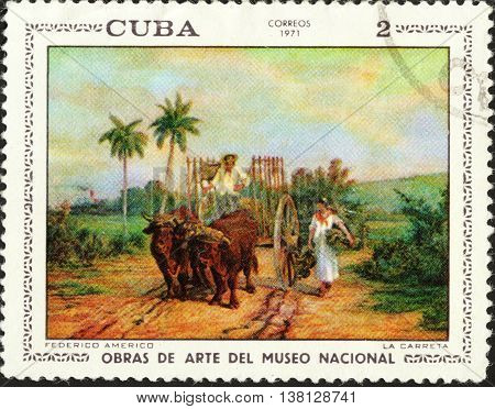 MOSCOW RUSSIA - DECEMBER 2015: a post stamp printed in CUBA shows a picture of the artist Federico Americo